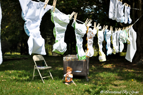 cloth diapers drying in the sun