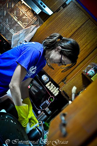 Leigh Ann Working in the Kitchen