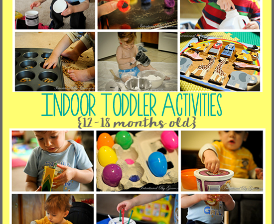 12 indoor toddler activities for your 12-18 month old. They're easy activities with materials you already have one hand!