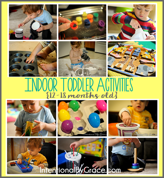 12 indoor toddler activities for your 12-18 month old. They're easy