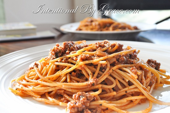 Spaghetti, simple meal for having guests over for dinner