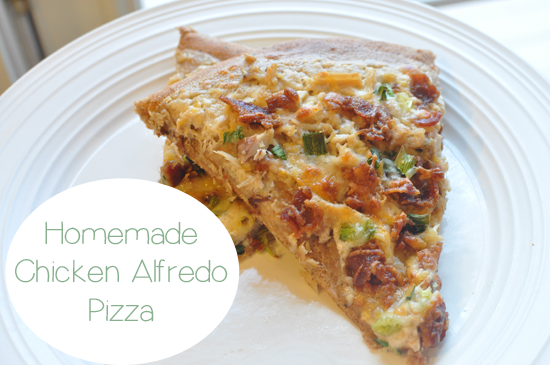 Really easy Homemade Chicken Alfredo Pizza, simple meal idea for having people over