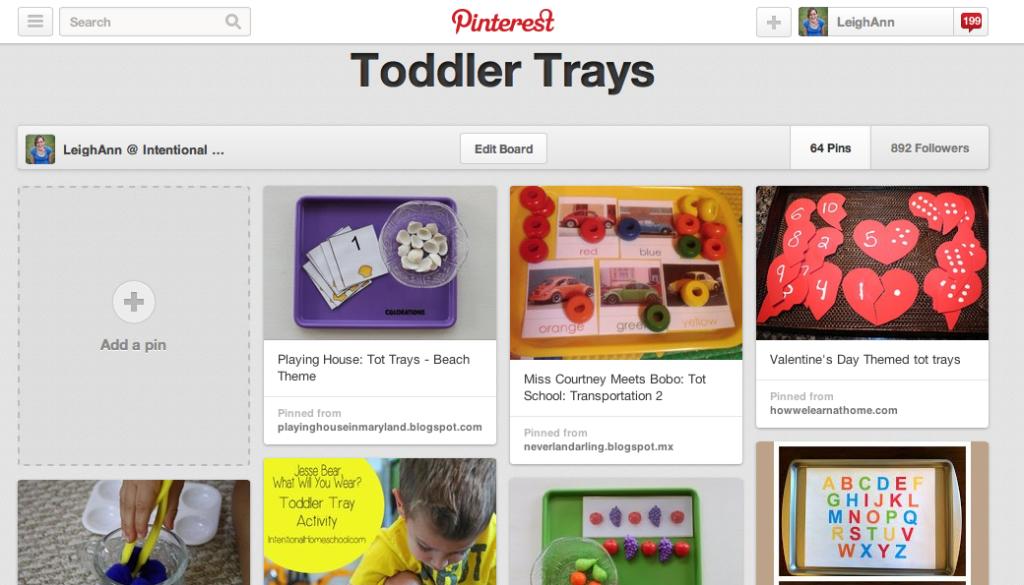 Toddler Tray Pinterest Board