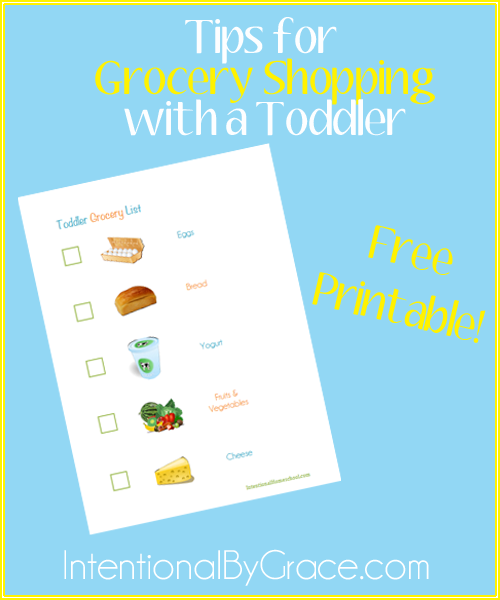 tips for grocery shopping with a toddler with a free printable!