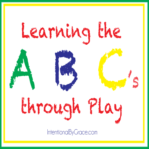 Learning the alphabet through play idea - alphabet sensory bins! | IntentionalByGrace.com