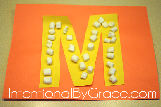 letter m craft with marshmallows