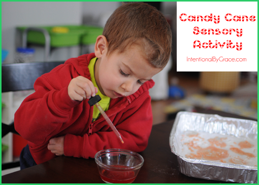 Try this candy cane sensory activity that your toddler will love! | IntentionalByGrace.com