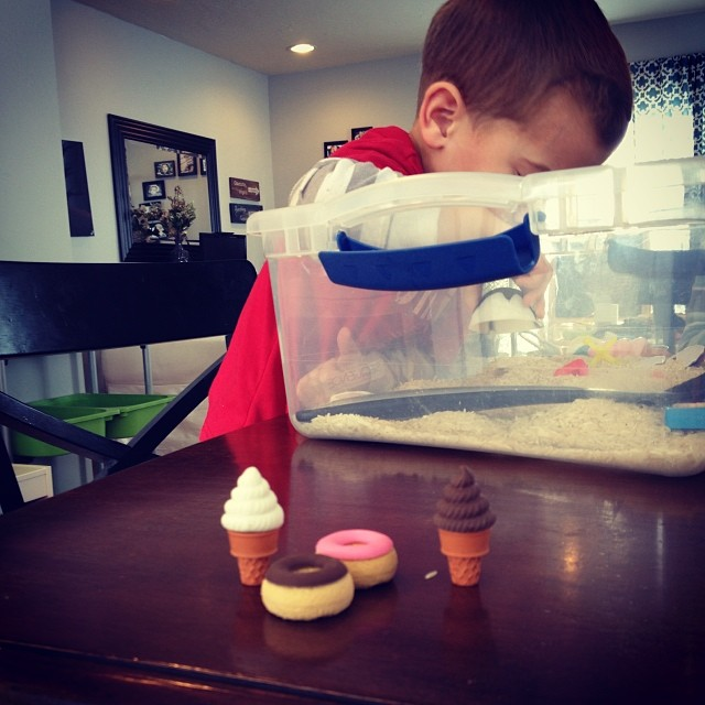 birthday sensory bin in action