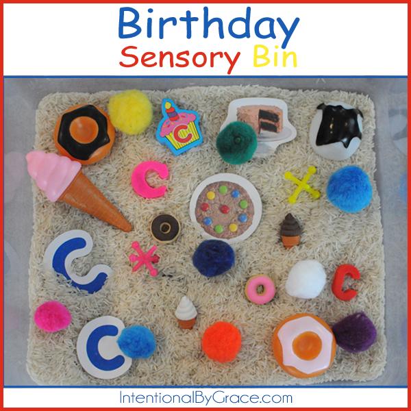 A simple birthday sensory bin idea!