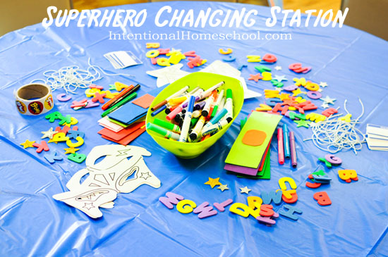 superhero changing station supplies