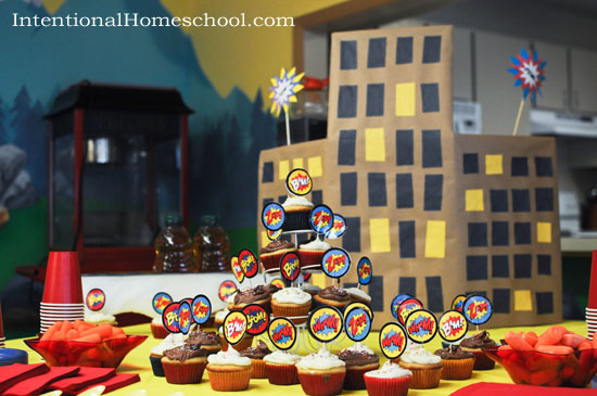 superhero party food and decorations