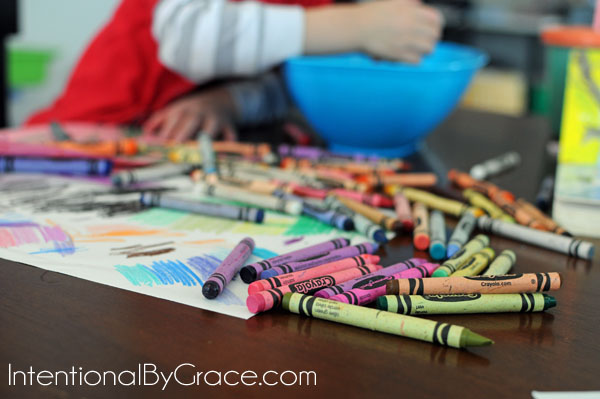 Doing preschool at home and coloring with your preschooler