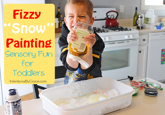 fizzy snow painting is great sensory fun for toddlers