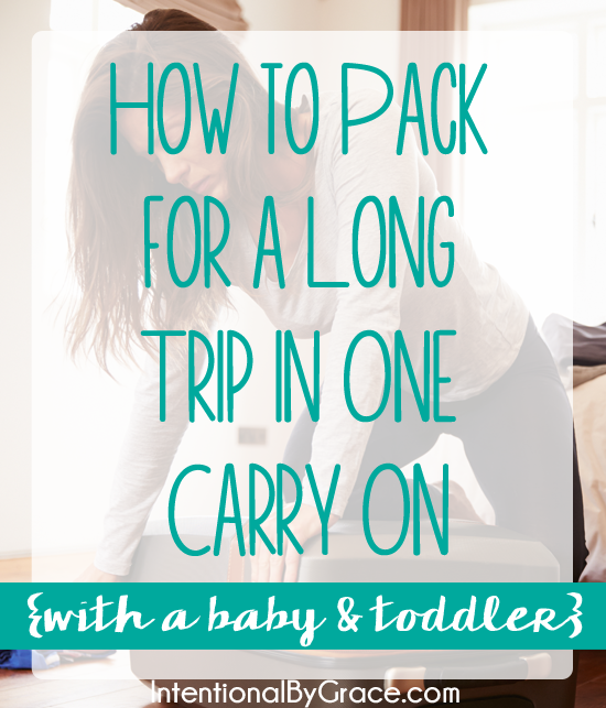 This post shows you how to pack for a long trip with just one carry on bag. Plus it includes your toddler and baby items in the bag! The free printable is also helpful.