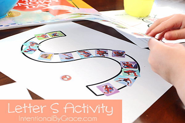 letter s activity with the superhero spiderman