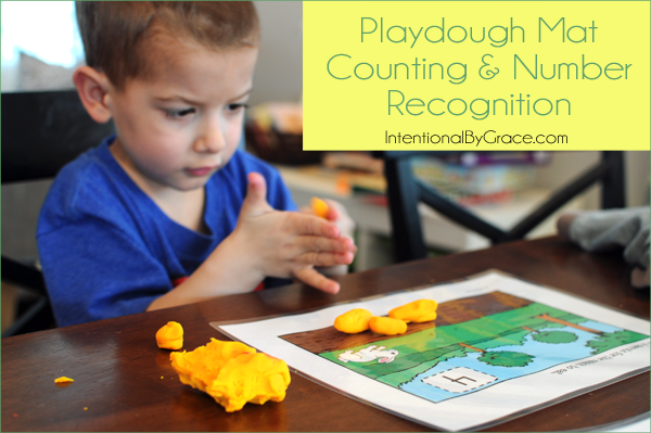 playdough mat counting and number recognition