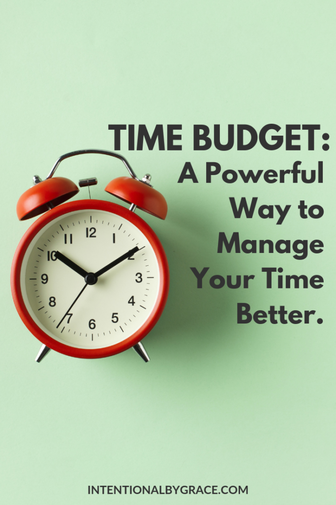 A time budget is a powerful way to manage your time better. Get your free printable here! | IntentionalByGrace.com