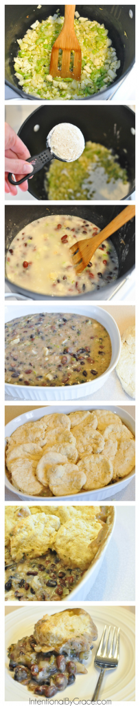 recipe for bean and veggie pot pie #easymeal #frugal