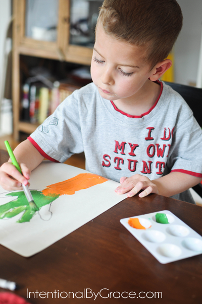 simple carrot painting activity for toddlers