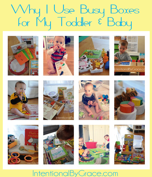 why i use busy boxes for toddler and baby (and lots of practical ideas!) | IntentionalByGrace.com