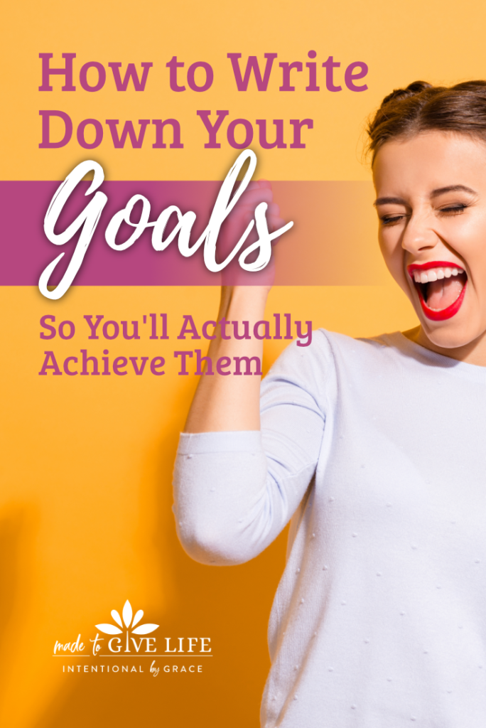 How to write down your goals and fulfill them. We've got some great encouragement for next steps toward actually fulfilling your goals. | IntentionalByGrace.com