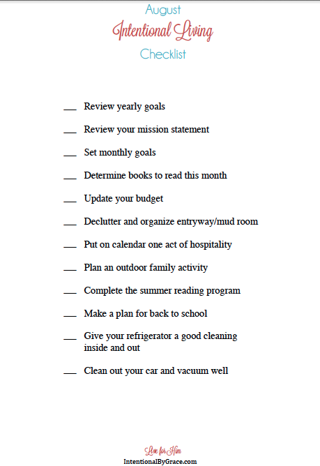 Download a free intentional living monthly checklist at IntentionalByGrace.com! There is one for each month of the year!