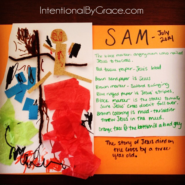 A three year old makes art depicting the story of Jesus died on the cross. | IntentionalByGrace.com