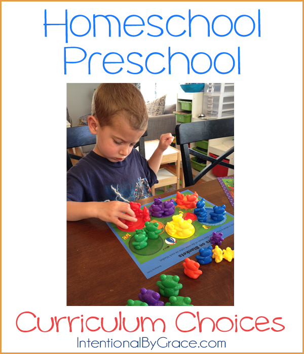 Our homeschool preschool curriculum choices | IntentionalByGrace.com