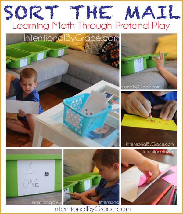 sort the mail learning through pretend play| IntentionalByGrace.com
