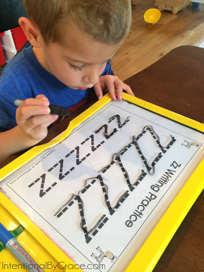 letter z prewriting