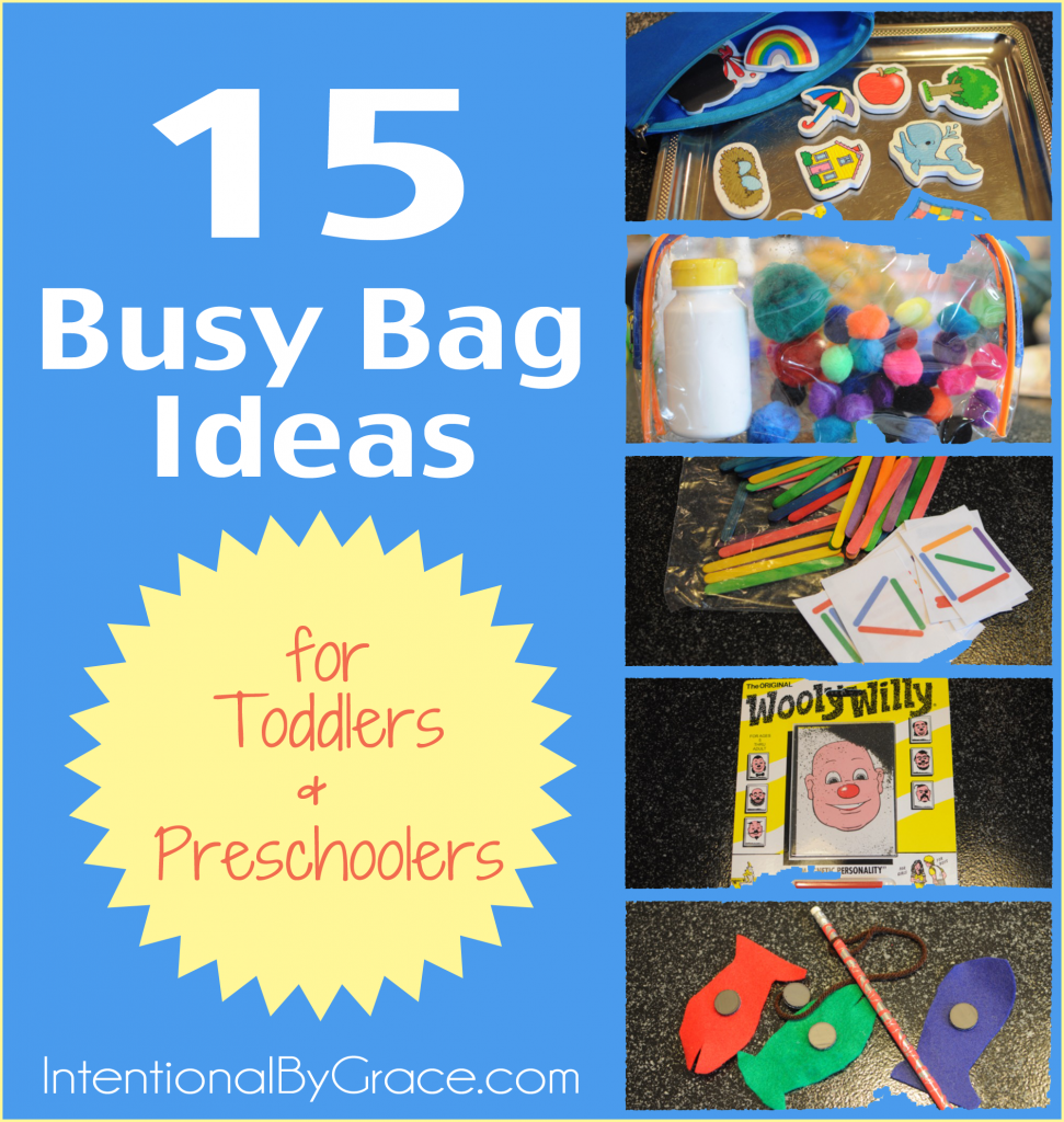 15 busy bag ideas for toddlers and preschoolers.