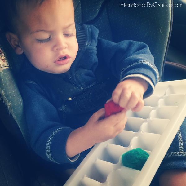 pom pom and ice cube tray