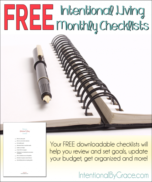 Free Intentional Living Monthly Checklists - Intentional By Grace