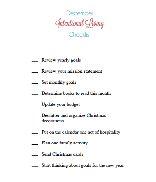 Get organized this December with a free downloadable checklist! | IntentionalByGrace.com