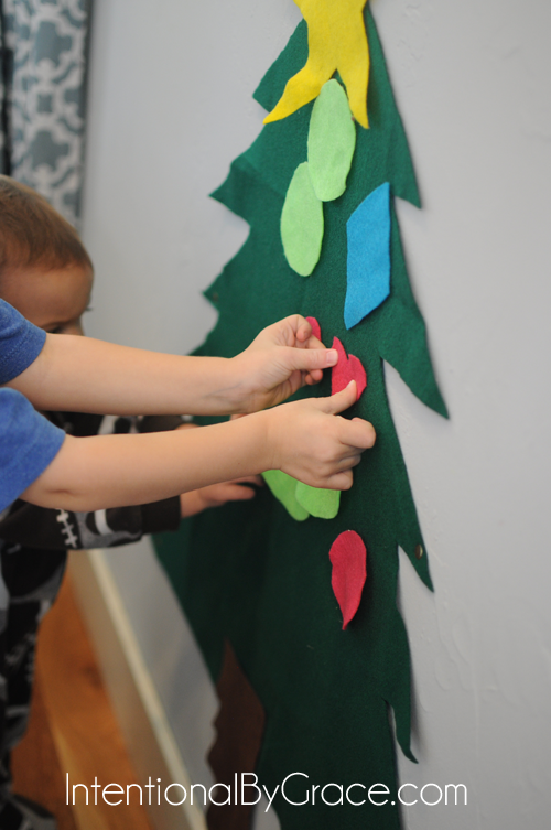 decorating our felt christmas tree