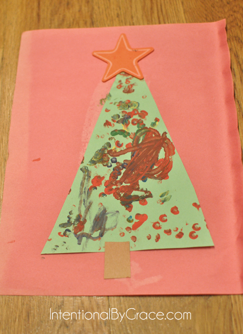 qtip painting christmas tree toddler