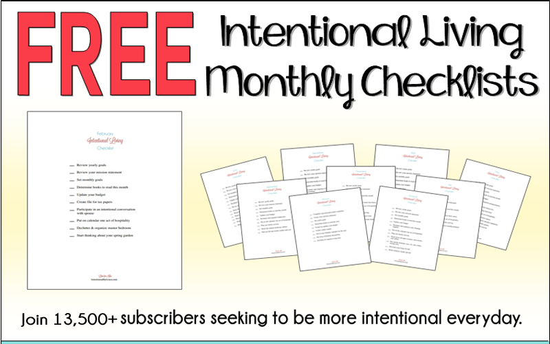 FREE Downloadable Intentional Living Monthly Checklists