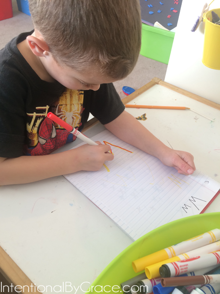 letter w in alphabet notebook