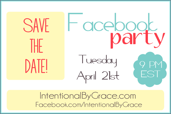 Save the Date for a Fun Facebook Party! April 21st at 9PM EST! Lots of prizes to giveaway!