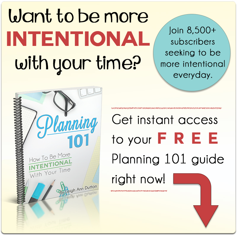 God is writing your story. He is ordaining your days. He is calling you to fully experience all that He has for you. If we don't plan our lives, someone else will do it for us. For a LIMITED TIME ONLY, Planning 101: How to Be More Intentional with Your Time is FREE! Get yours now!