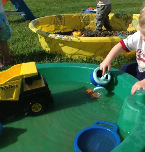 Mud party for toddlers and preschoolers, sensory play date