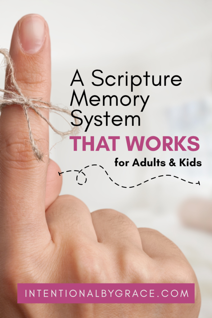 A scripture memory system that really works for adults and kids! Easy to make and use for the whole family to memorize Bible verses together.  | IntentionalByGrace.com