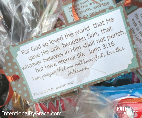 Can Christians Celebrate Halloween? The Apostle Paul's Answer Might Surprise You! Could it be that Christians are so busy arguing over Halloween that they have missed a wonderful opportunity? This post includes beautiful printable trick or treat tags with verses. IntentionalByGrace.com