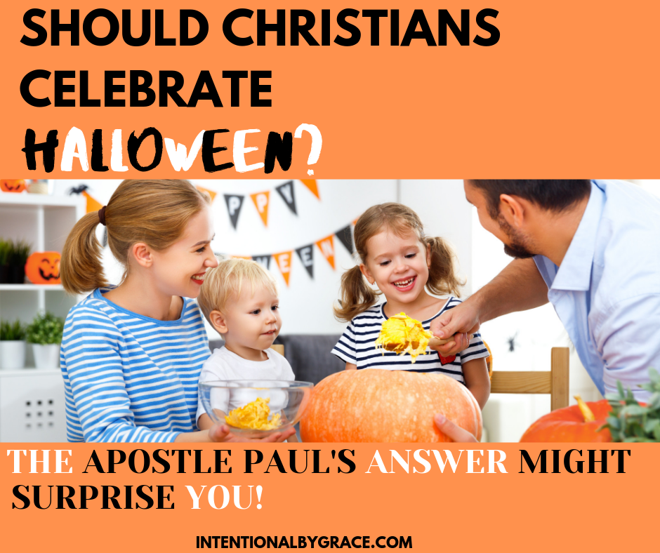 Do you think Christians should celebrate Halloween? Let's look at what the Bible leads us to! This post includes beautiful printable trick or treat tags with verses. | IntentionalByGrace.com