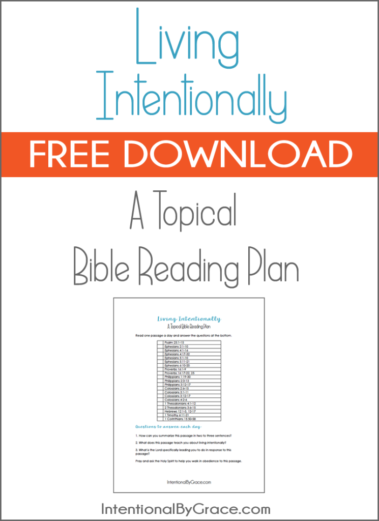 Free Topical Bible Reading Plan on Intentional Living ...