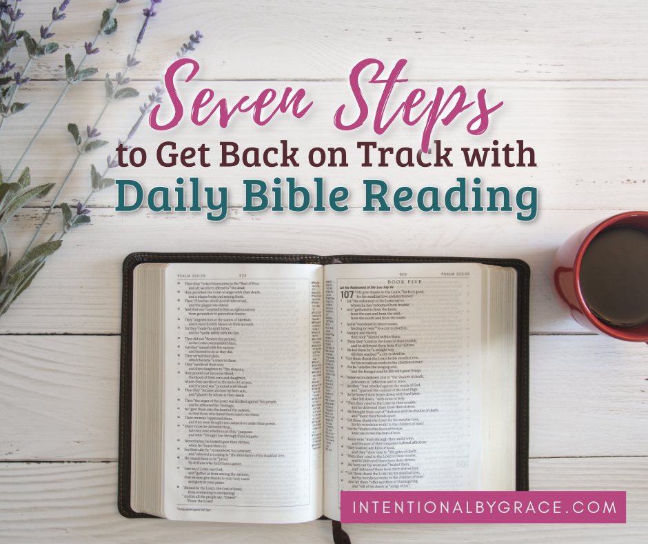 Have you set goals for daily Bible reading this year, but find yourself discouraged a couple of months in? Don't Give Up! You can get back on track! | IntentionalByGrace.com