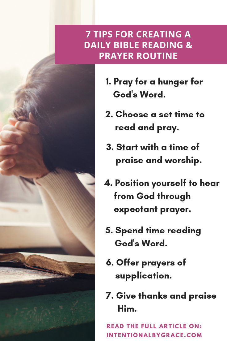 7 Tips for Creating a Daily Bible and Prayer Routine #biblestudy #biblestudytips #biblereading #bibleroutine #prayer #prayerroutine #prayerjournal