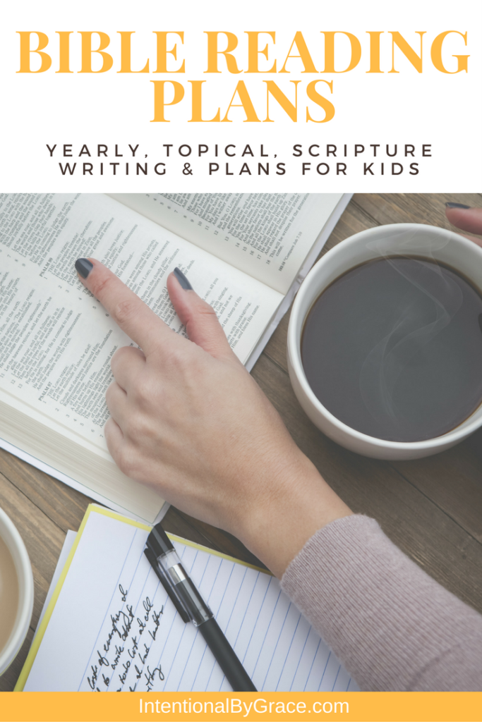 Go deeper in your Bible study with these Bible Reading Plans. Topical Bible Reading Plans, Yearly Bible Reading Plans, Scripture Writing Plans, Bible reading plans for kids, and more! #biblereading #biblereadingplans #biblestudy