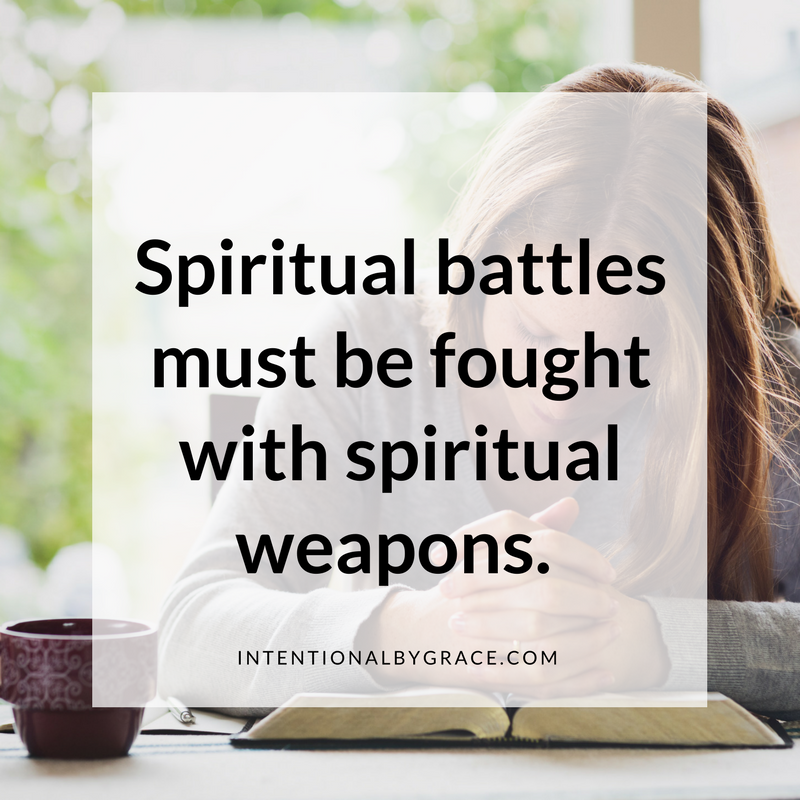 spiritual battles must be fought with spiritual weapons. #prayer #prayerquote #prayerjournal #prayernotebook