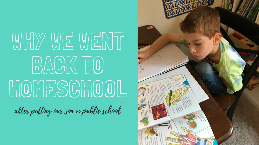 Why we pulled my son out of public school and went back to homeschool.